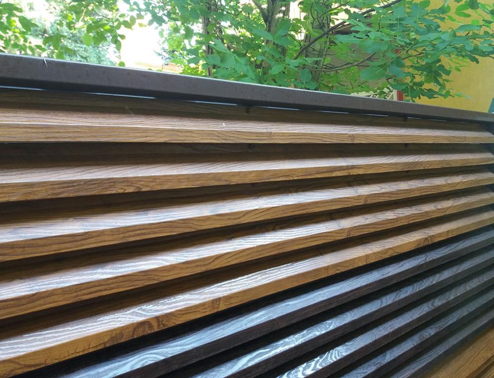 Gard metalic imitatie lemn