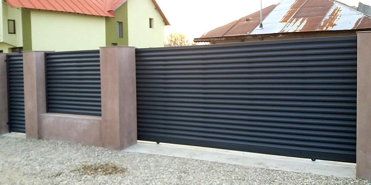 Gard metalic,poarta pietonala si poarta auto culisanta